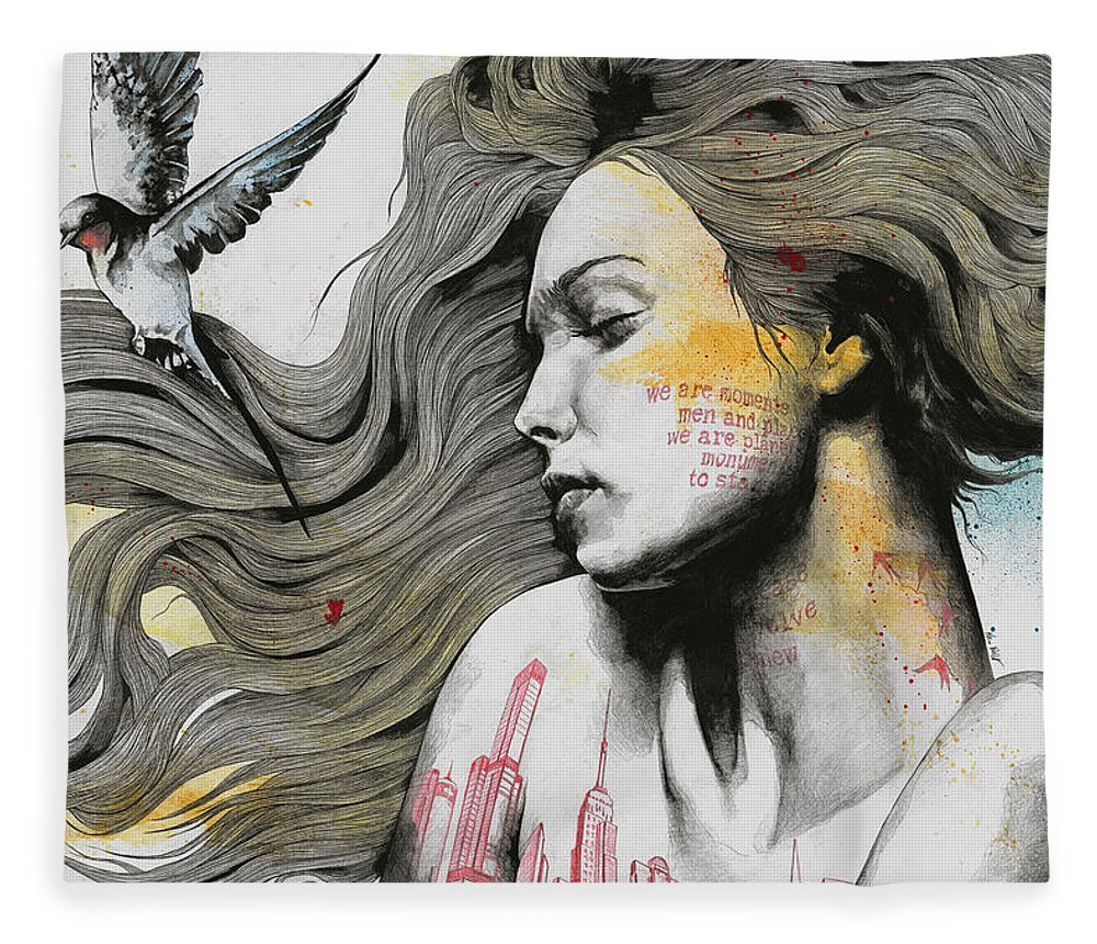 Skyline Fleece Blanket featuring the drawing Monument - Long Hair Girl With Bird And Skyline Tattoo by Marco Paludet