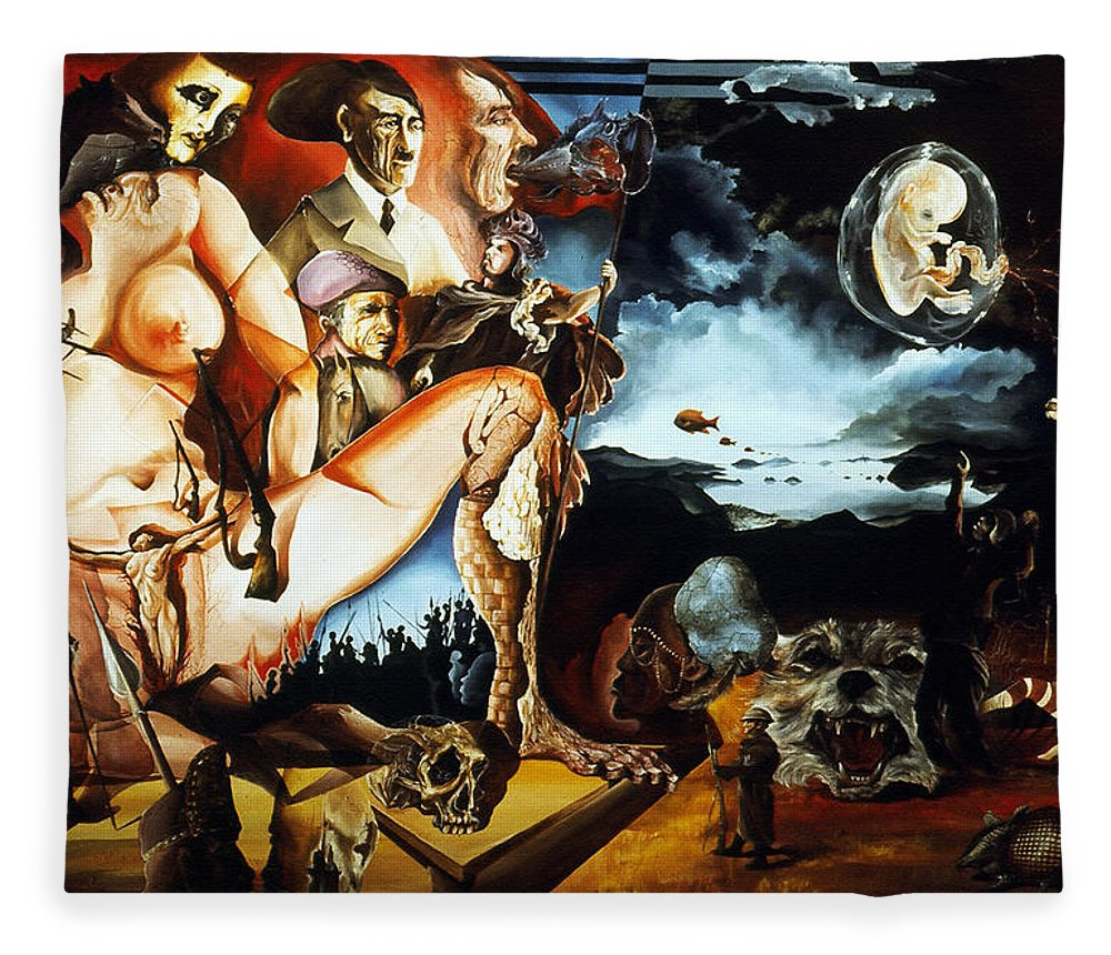 War Fleece Blanket featuring the painting Monument To The Unborn War Hero by Otto Rapp