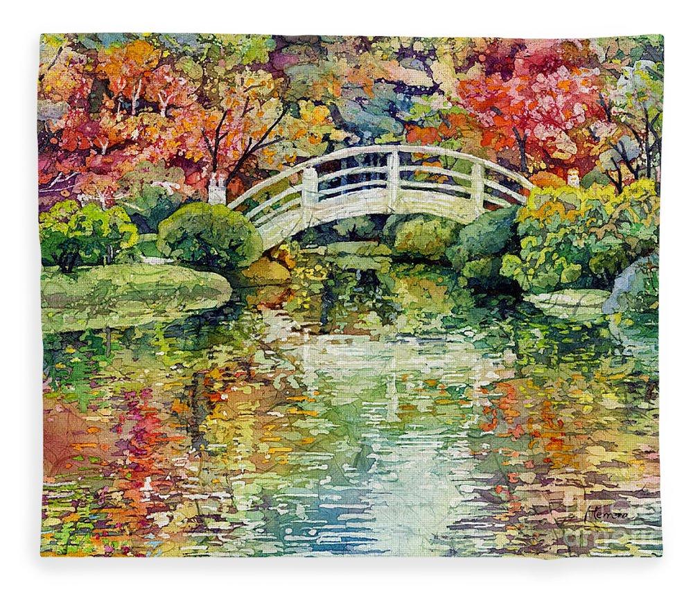 Moon Bridge Fleece Blanket featuring the painting Moon Bridge by Hailey E Herrera