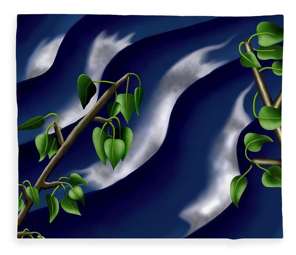 Surrealism Fleece Blanket featuring the digital art Moon-glow I - Poplars Over Water At Night by Robert Morin