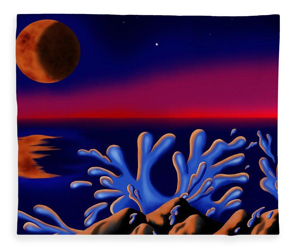 Surrealism Fleece Blanket featuring the digital art Moon-glow II by Robert Morin