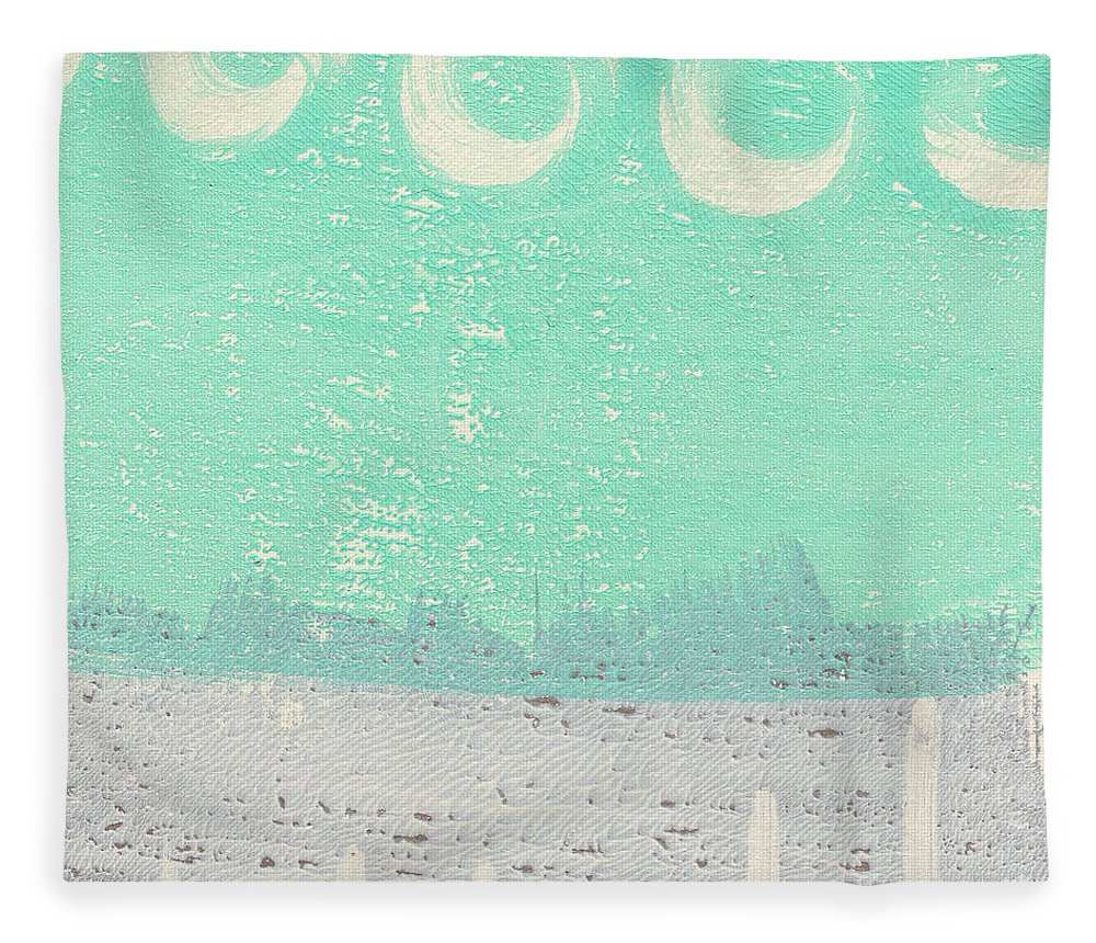 Abstract Fleece Blanket featuring the painting Moon Over The Sea by Linda Woods