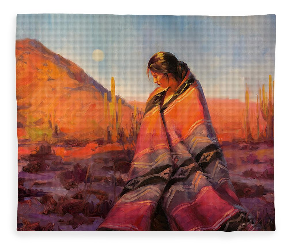 Southwest Fleece Blanket featuring the painting Moon Rising by Steve Henderson