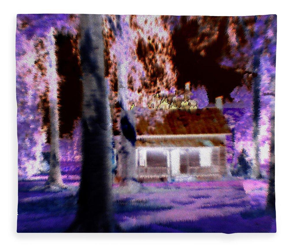 Cabin Fleece Blanket featuring the digital art Moonlight Cabin by Seth Weaver