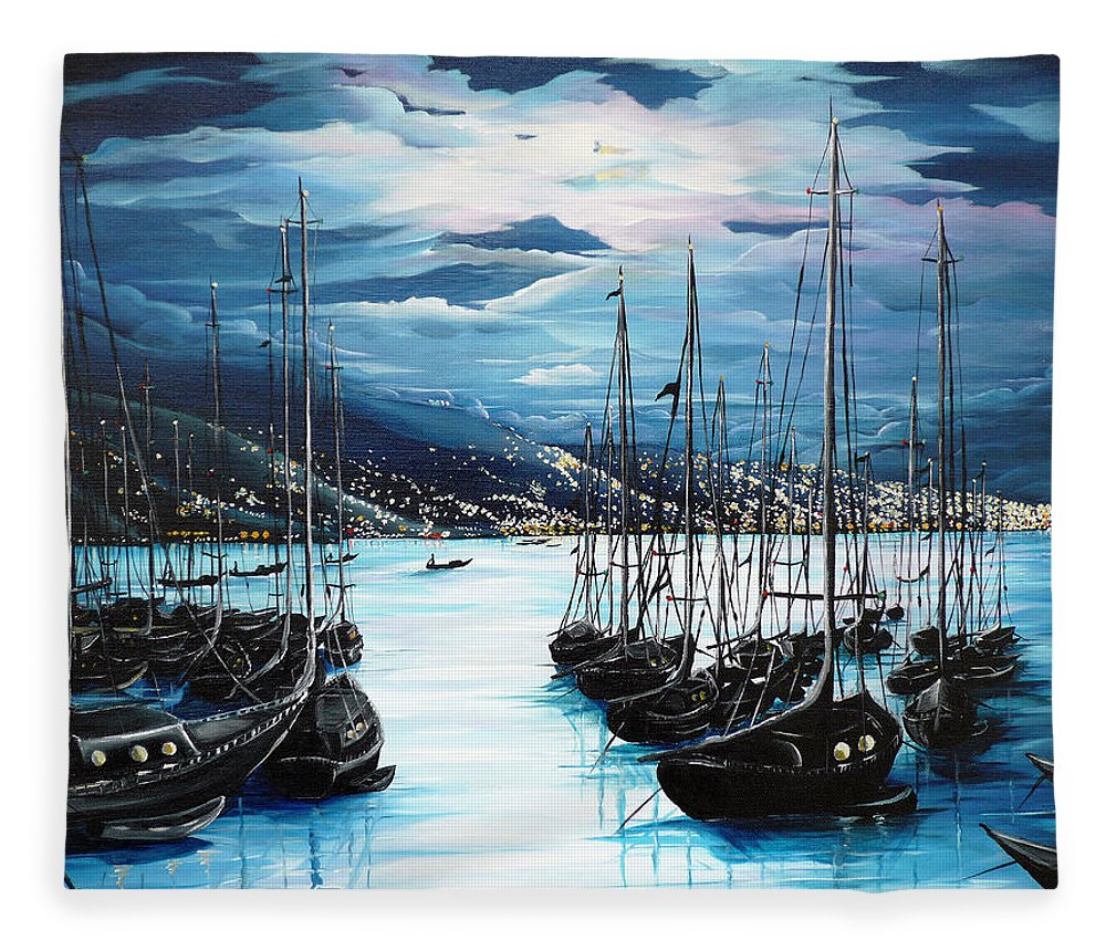 Ocean Painting  Caribbean Seascape Painting Moonlight Painting Yachts Painting Marina Moonlight Port Of Spain Trinidad And Tobago Painting Greeting Card Painting Fleece Blanket featuring the painting Moonlight Over Port Of Spain by Karin Dawn Kelshall- Best