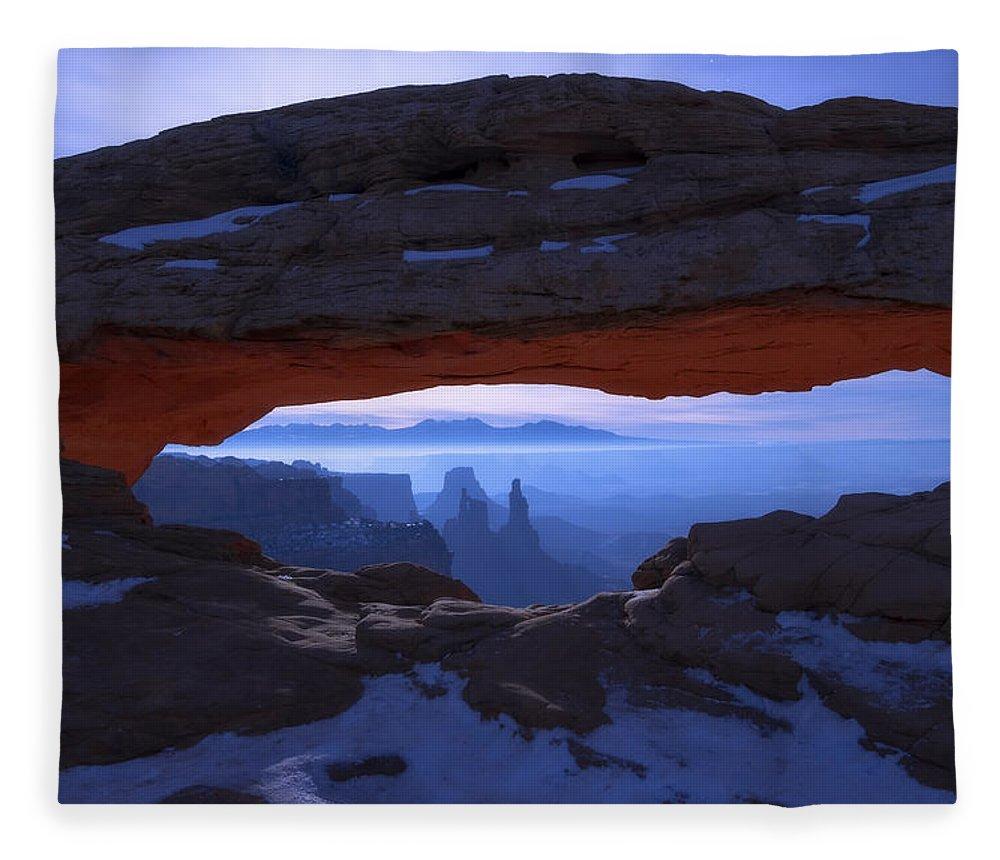 Moonlit Mesa Fleece Blanket featuring the photograph Moonlit Mesa by Chad Dutson