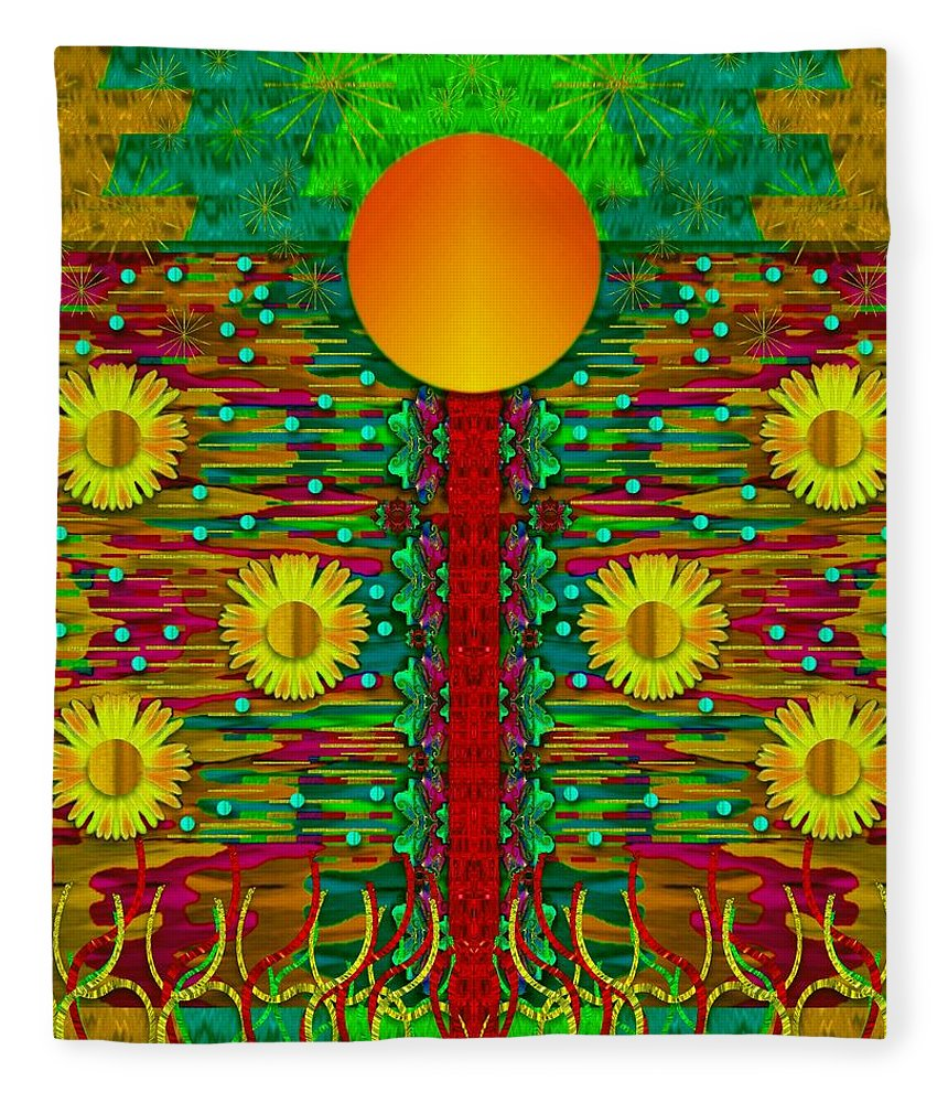 Moon Fleece Blanket featuring the mixed media Moonshine Over The Golden Sacred Pond by Pepita Selles