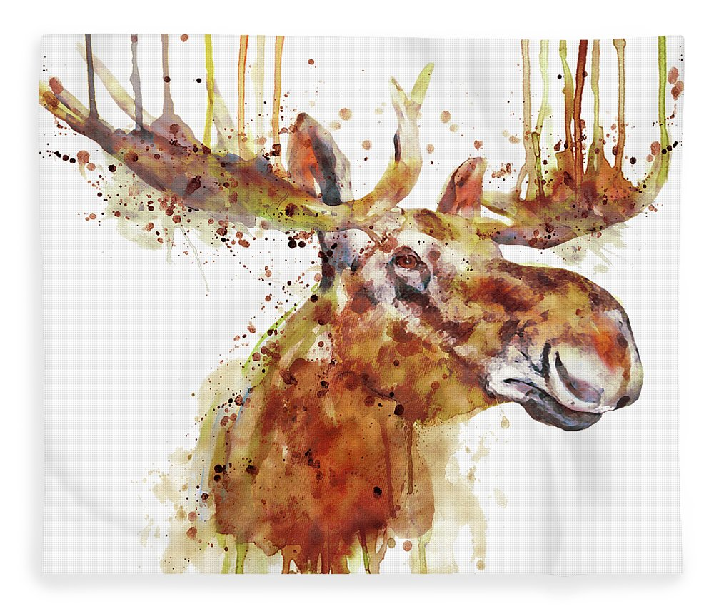 Moose Fleece Blanket featuring the painting Moose Head by Marian Voicu
