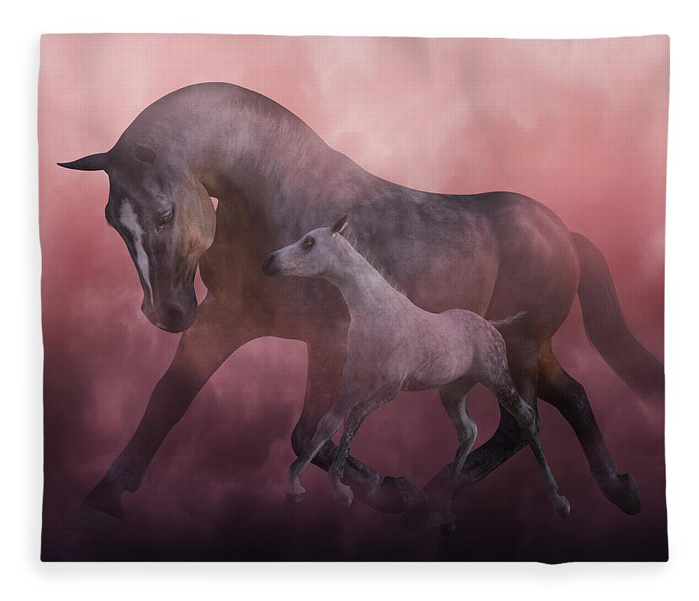 Horse Fleece Blanket featuring the digital art Morning And Dawn by Betsy Knapp