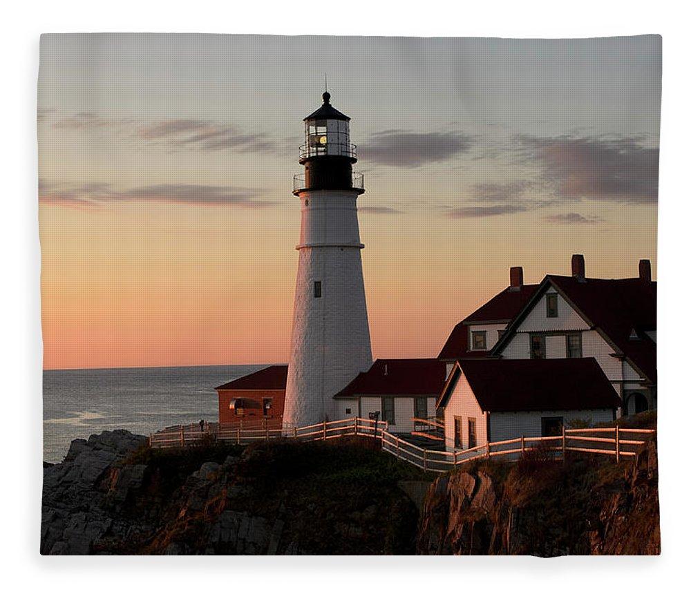 Lighthouse Fleece Blanket featuring the photograph Morning Light by Dan Jordan