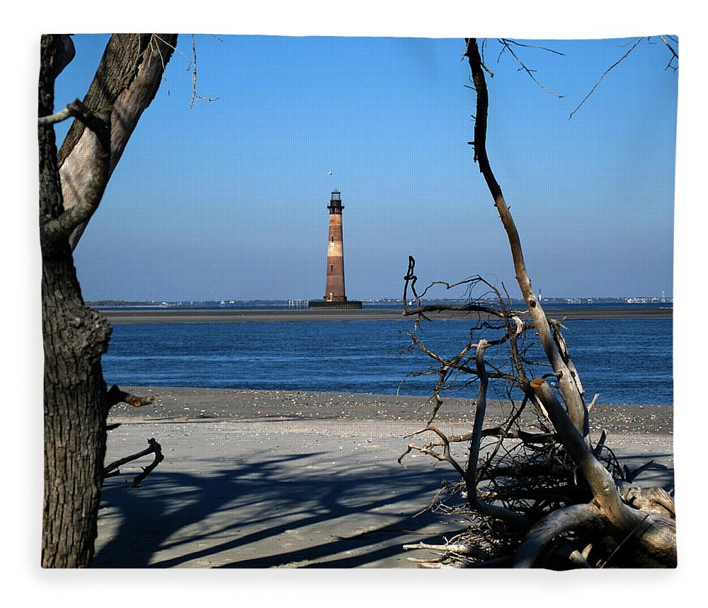 Photography Fleece Blanket featuring the photograph Morris Island Lighthouse Charleston Sc by Susanne Van Hulst