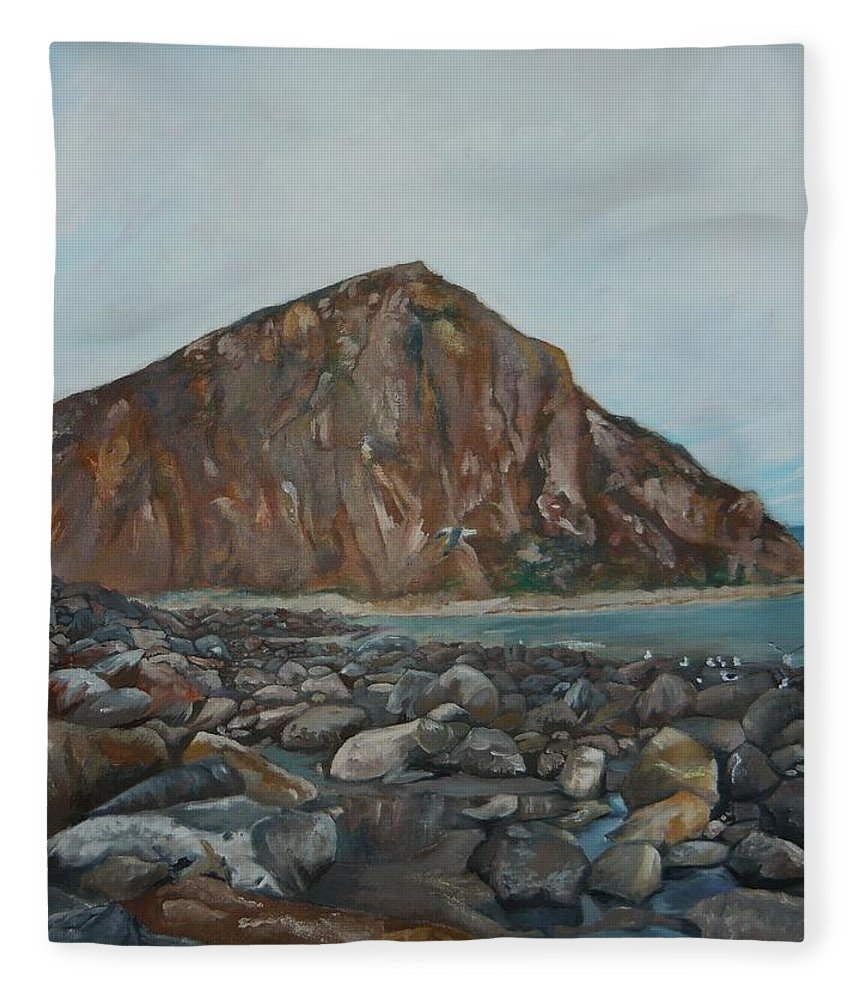 Morro Bay Fleece Blanket featuring the painting Morro Rock by Travis Day