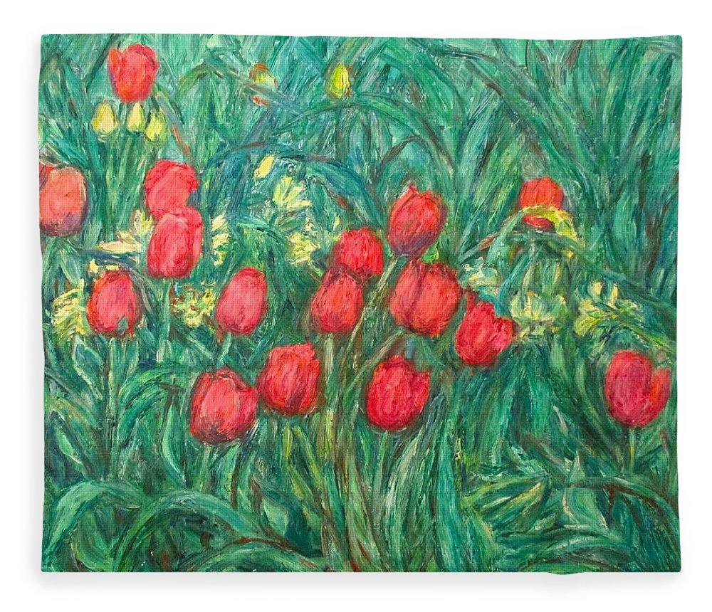 Kendall Kessler Fleece Blanket featuring the painting Mostly Tulips by Kendall Kessler