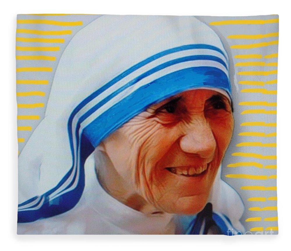 Mother Teresa Fleece Blanket featuring the mixed media Mother Teresa by Vesna Antic