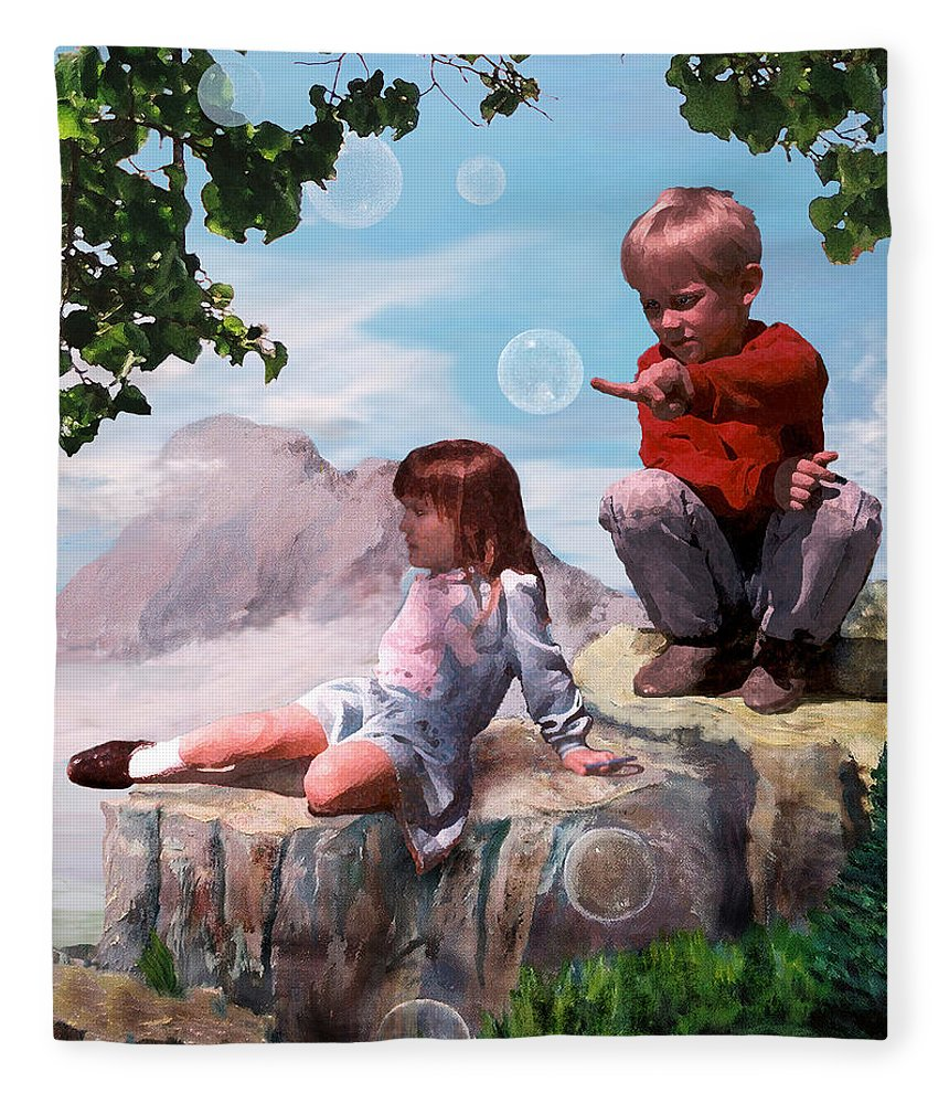 Landscape Fleece Blanket featuring the painting Mount Innocence by Steve Karol