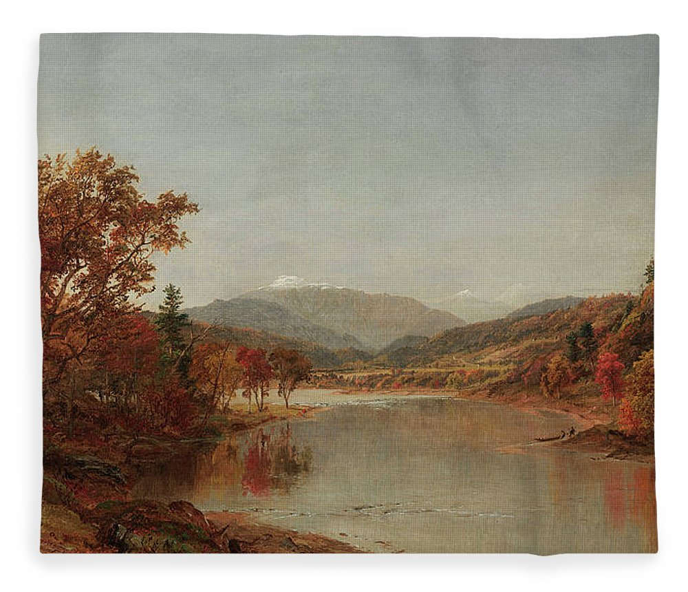 Mount Washington Fleece Blanket featuring the painting Mount Washington, New Hampshire by Jasper Francis Cropsey