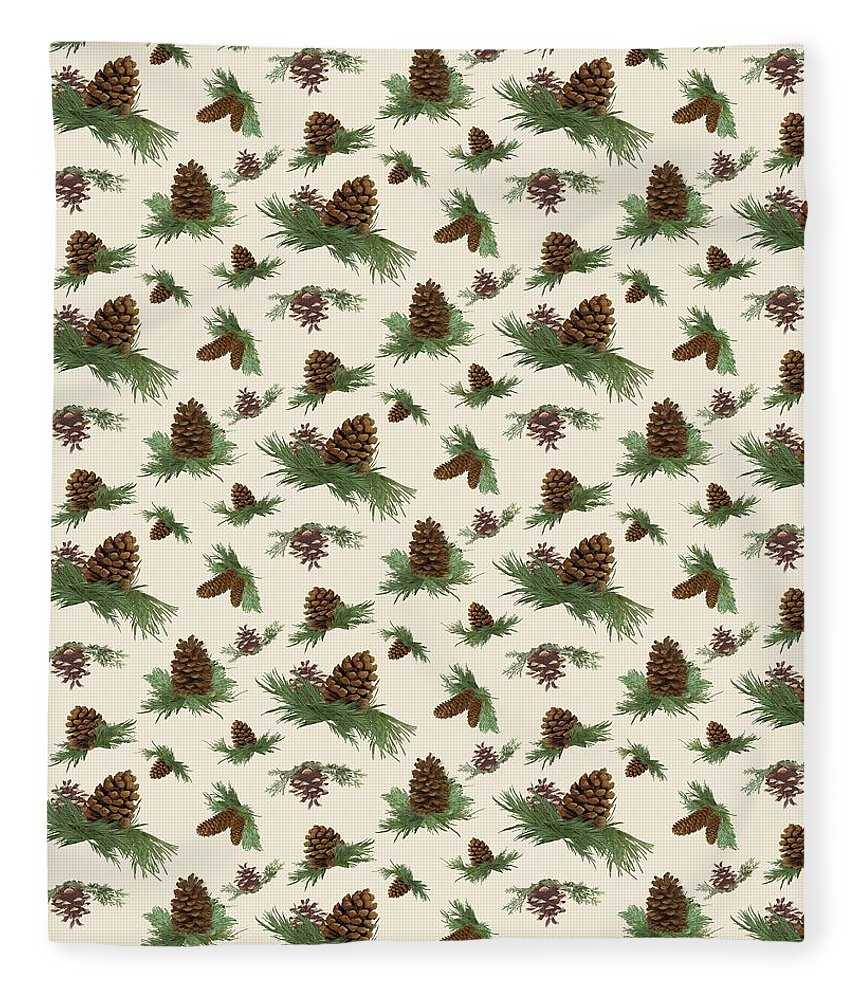 Pine Cones Fleece Blanket featuring the painting Mountain Lodge Cabin In The Forest - Home Decor Pine Cones by Audrey Jeanne Roberts
