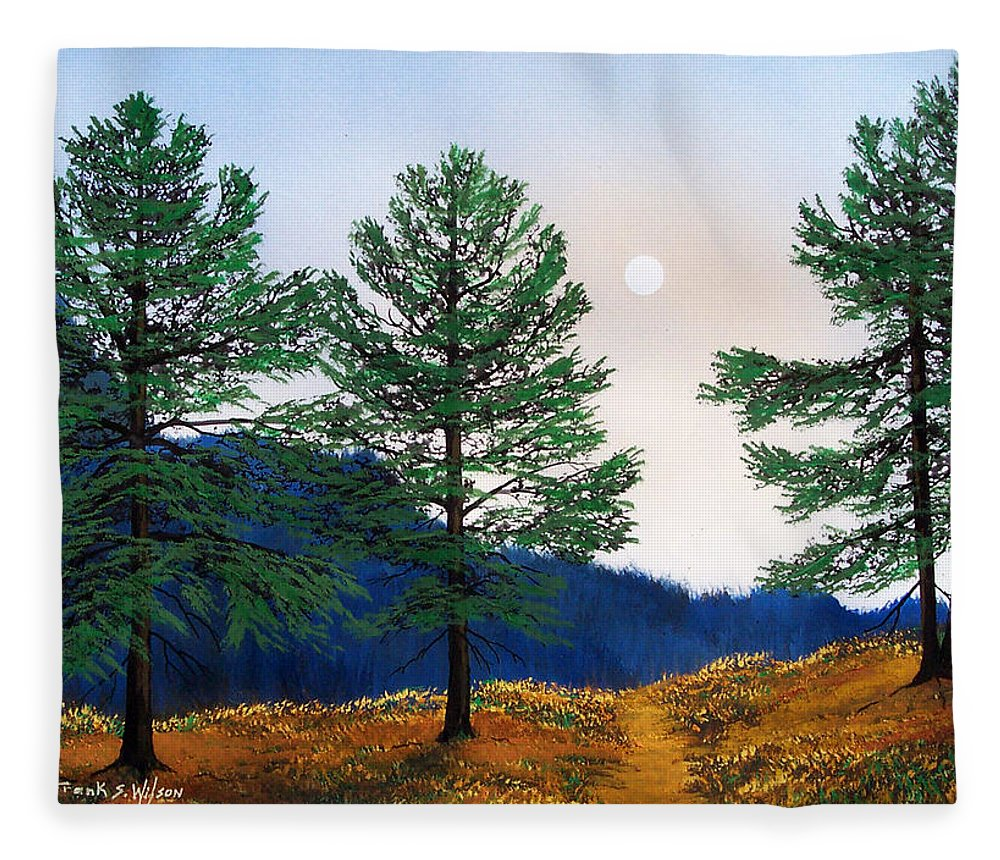 Fleece Blanket featuring the painting Mountain Pines by Frank Wilson