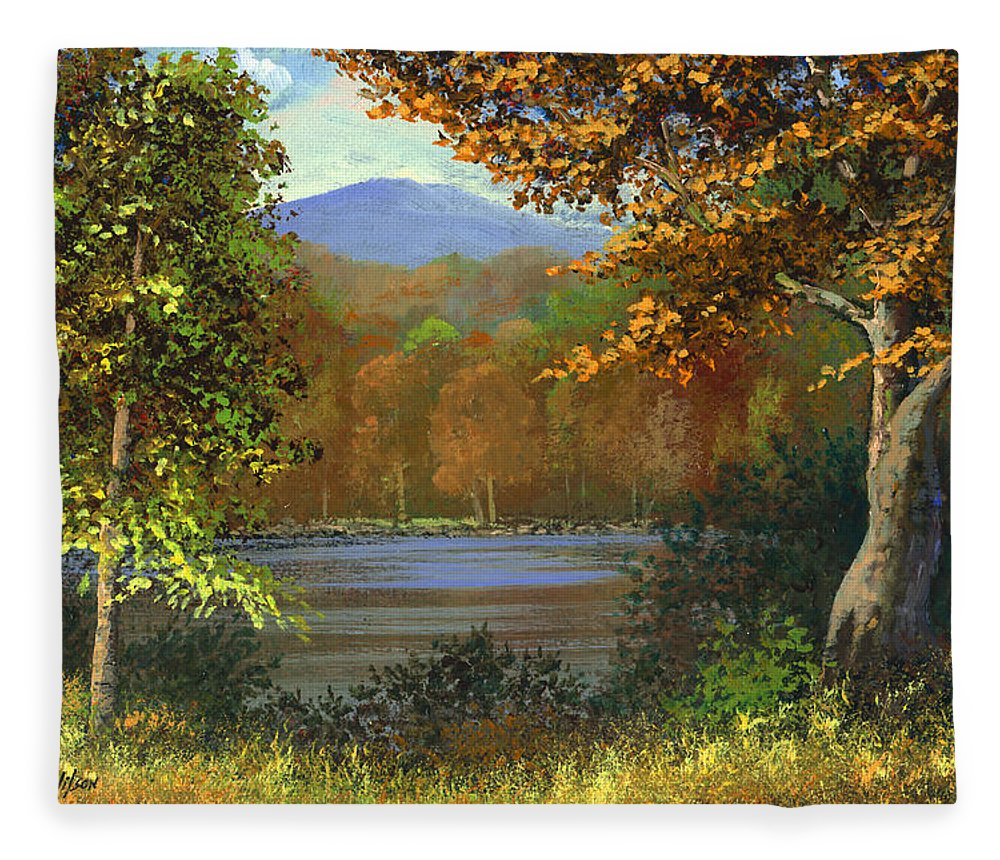 Landscape Fleece Blanket featuring the painting Mountain Pond by Frank Wilson