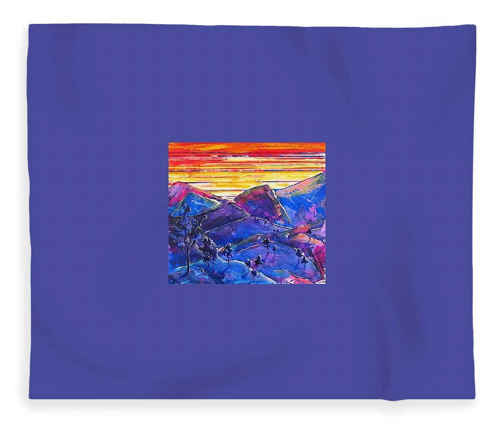 Mountains Fleece Blanket featuring the painting Mountainscape Blue by Rollin Kocsis