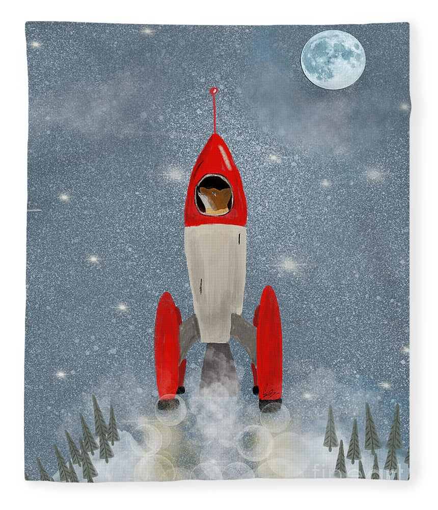 Fox Fleece Blanket featuring the painting Mr Fox Goes To The Moon by Bri Buckley
