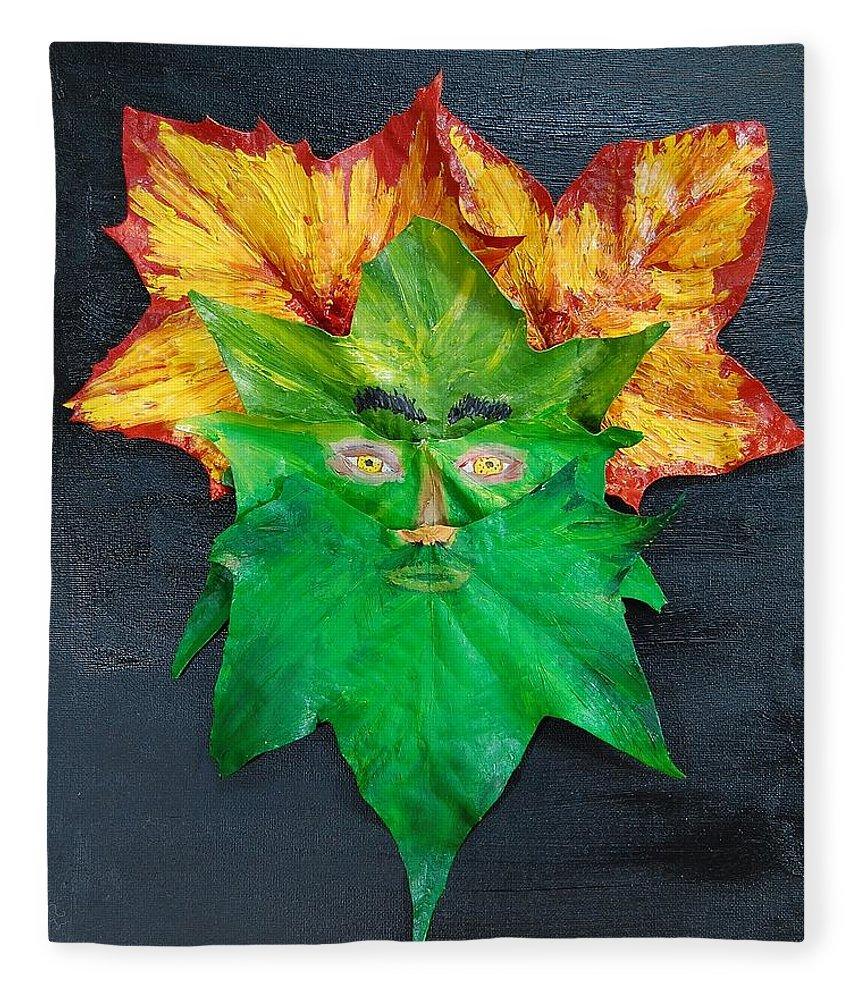 Leaves Fleece Blanket featuring the mixed media Mr. Green by Charla Van Vlack