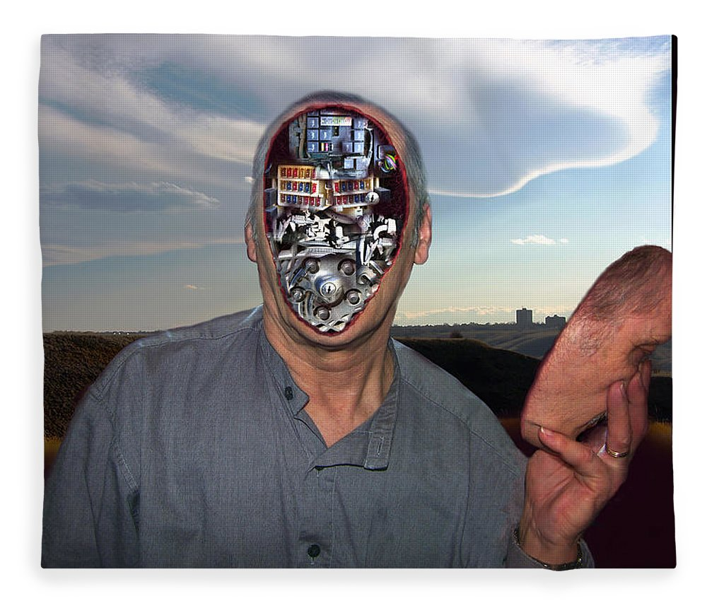 Surrealism Fleece Blanket featuring the digital art Mr. Robot-Otto by Otto Rapp