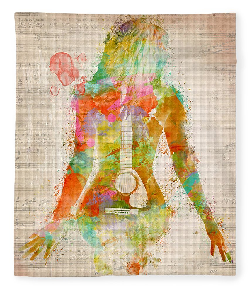 Guitar Fleece Blanket featuring the digital art Music Was My First Love by Nikki Marie Smith