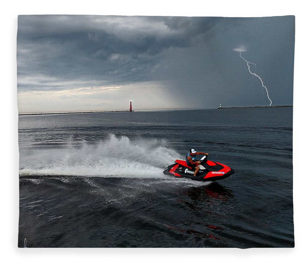 Jet Ski Fleece Blanket featuring the photograph Muskegon South Pier Lighthouse by Michael Rucker