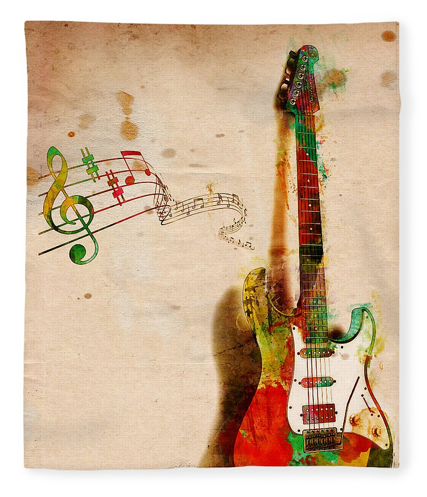 Guitar Fleece Blanket featuring the digital art My Guitar Can SING by Nikki Smith