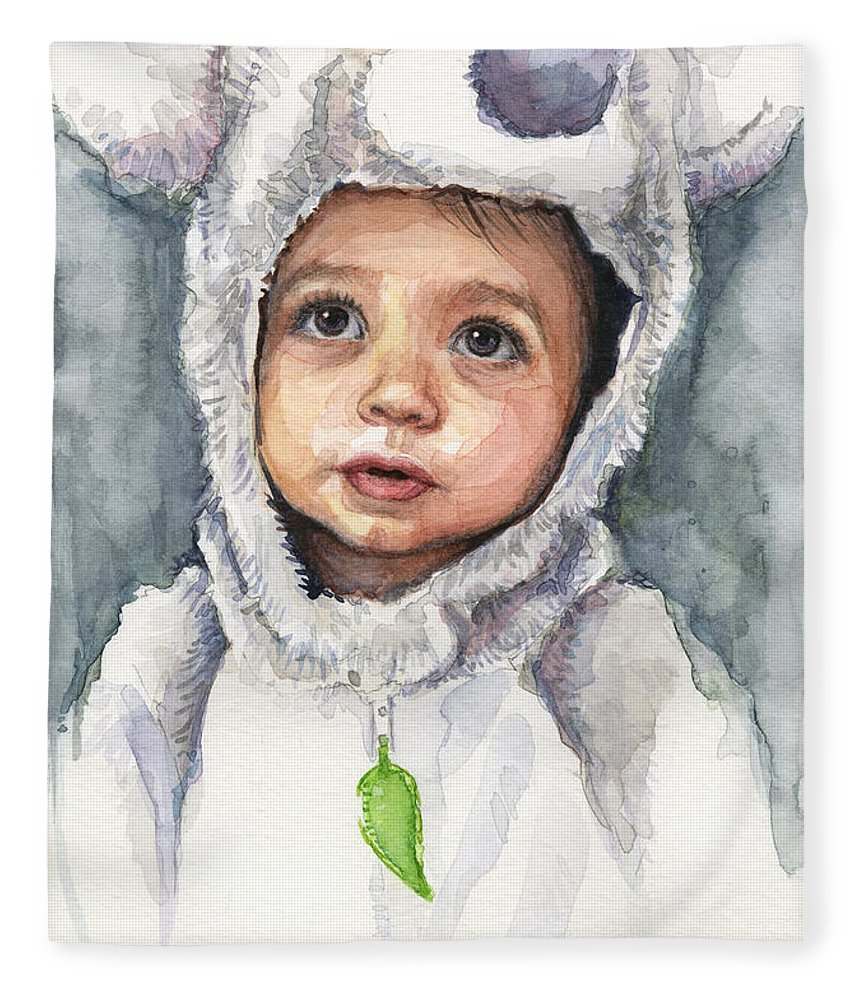 Fleece Blanket featuring the painting My Little Koala by Olga Shvartsur