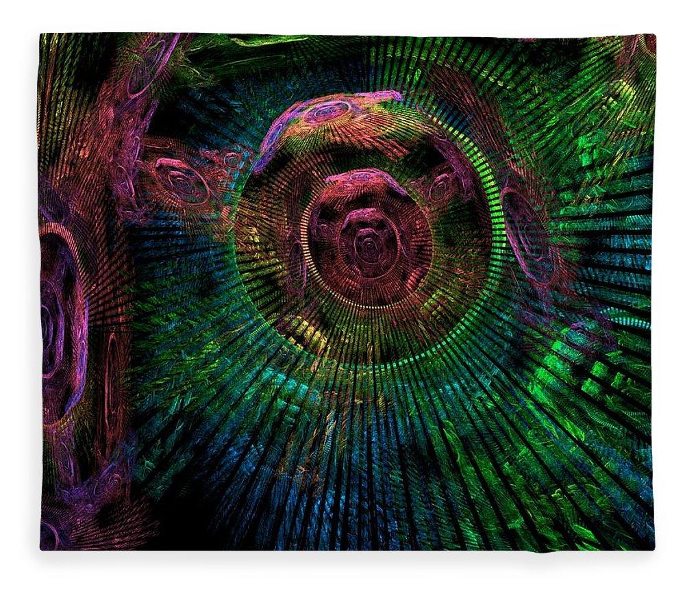 Fractal Fleece Blanket featuring the digital art My Mind's Eye by Lyle Hatch