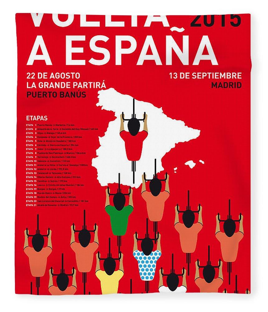 2015 Fleece Blanket featuring the digital art My Vuelta A Espana Minimal Poster Etapas 2015 by Chungkong Art
