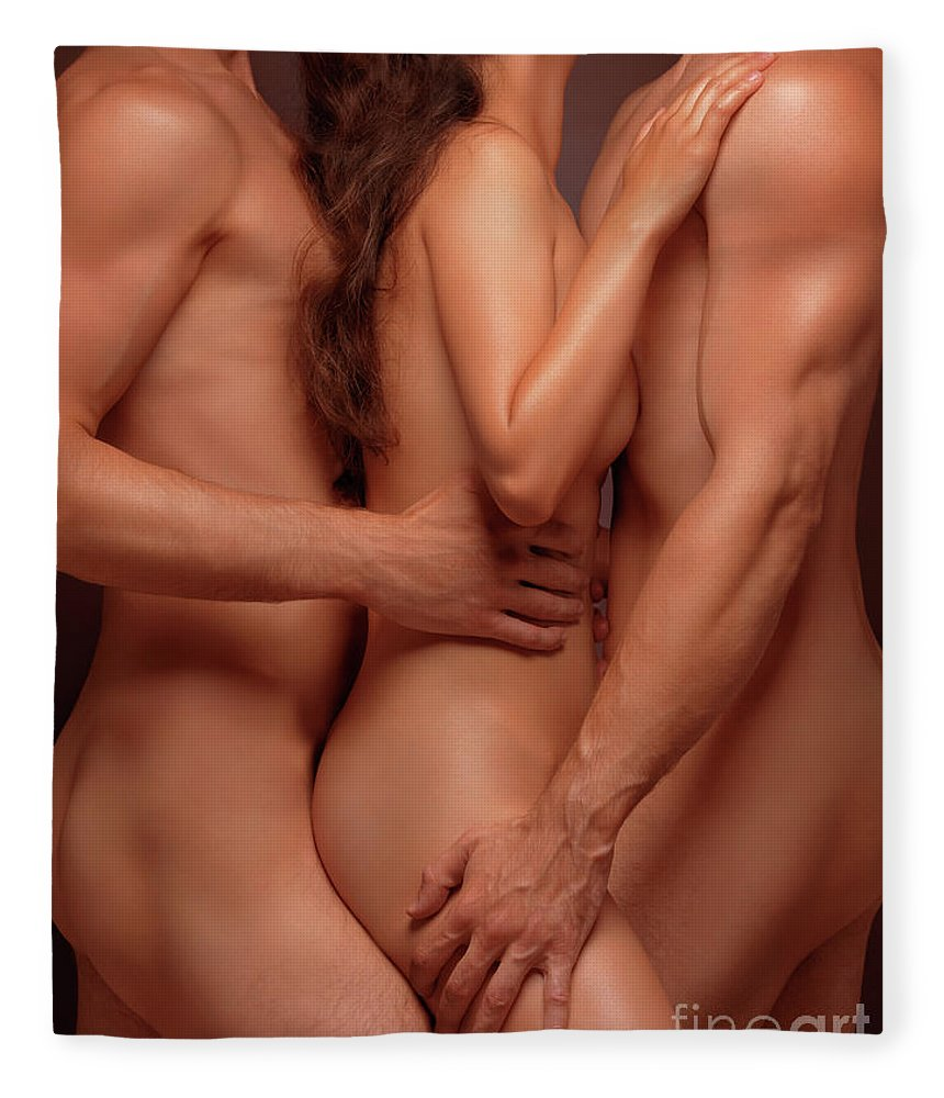 Sex Fleece Blanket Featuring The Photograph Naked Woman And Two Nude Men Sensual Threesome By Oleksiy