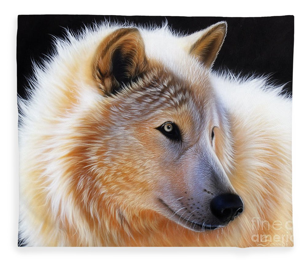 Acrylic Fleece Blanket featuring the painting Nala by Sandi Baker