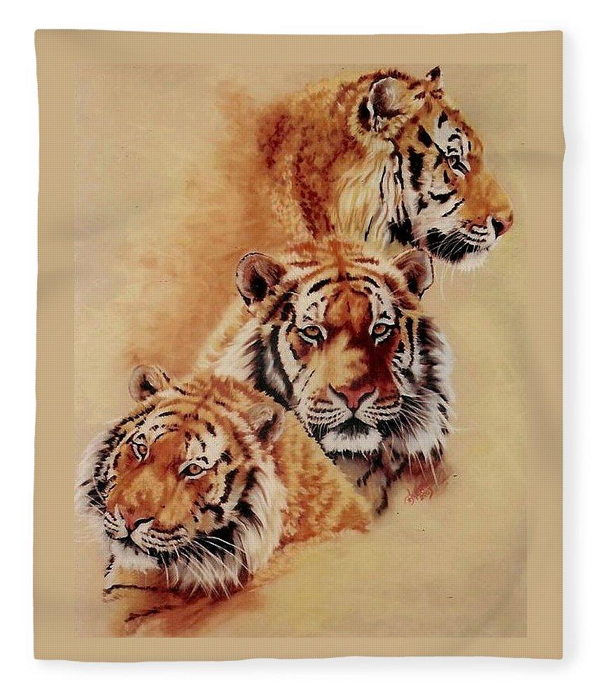 Tiger Fleece Blanket featuring the pastel Nanook Threefold by Barbara Keith