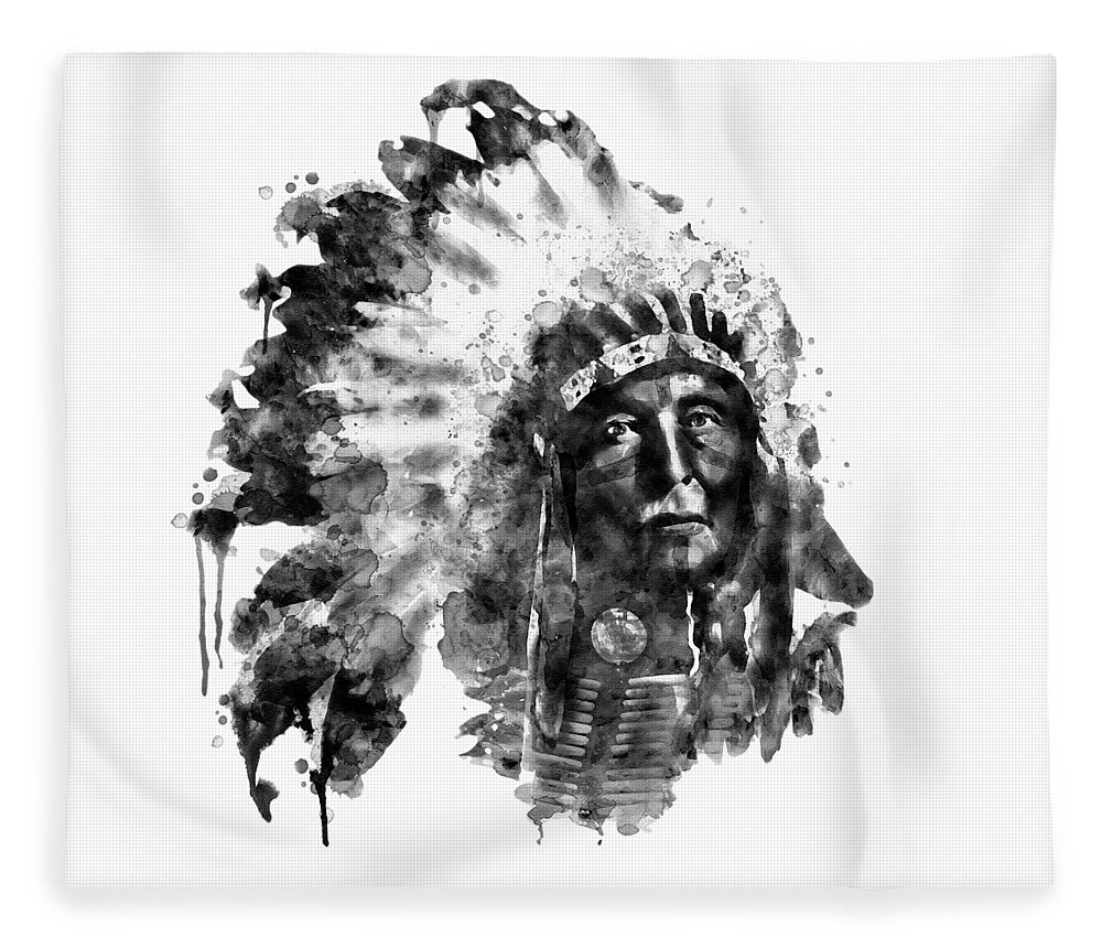 American Indian Fleece Blanket featuring the painting Native American Chief Black And White by Marian Voicu