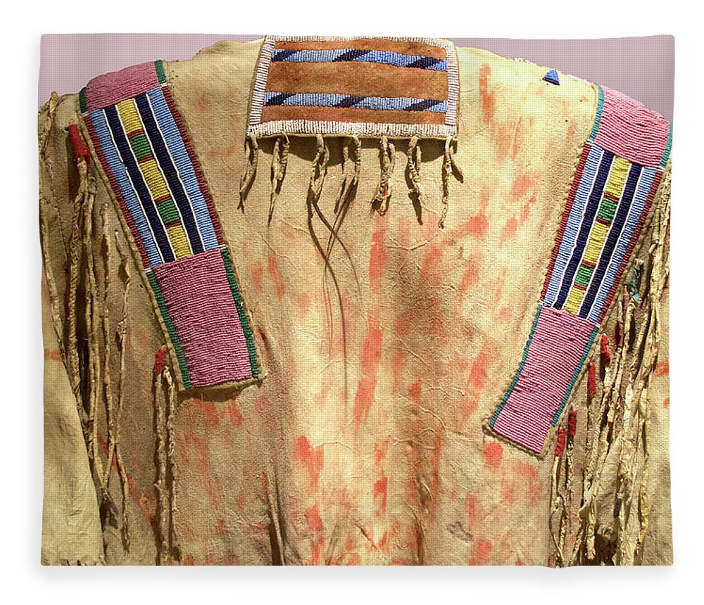 Native American Great Plains Indian Clothing Artwork 08 Fleece Blanket For Sale By Thomas Woolworth