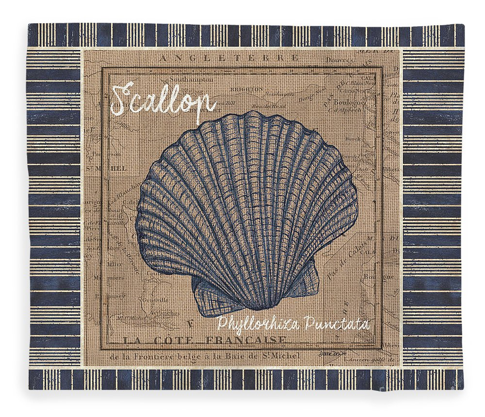 Sea Fleece Blanket featuring the painting Nautical Stripes Scallop by Debbie DeWitt