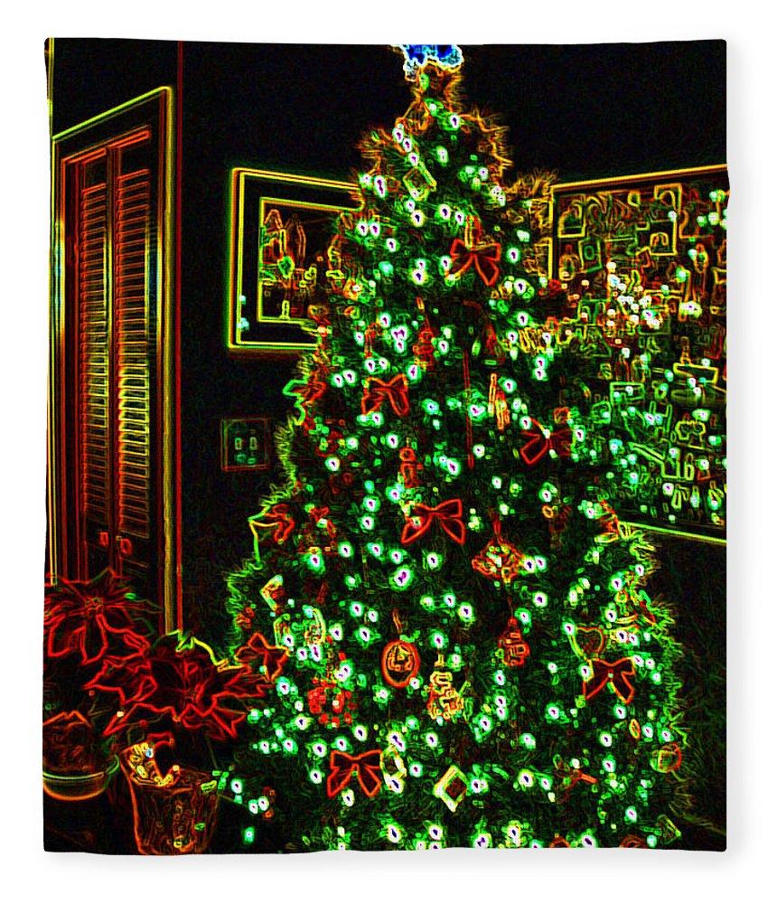 christmas fleece blanket featuring the photograph neon christmas tree by nancy mueller - Christmas Fleece