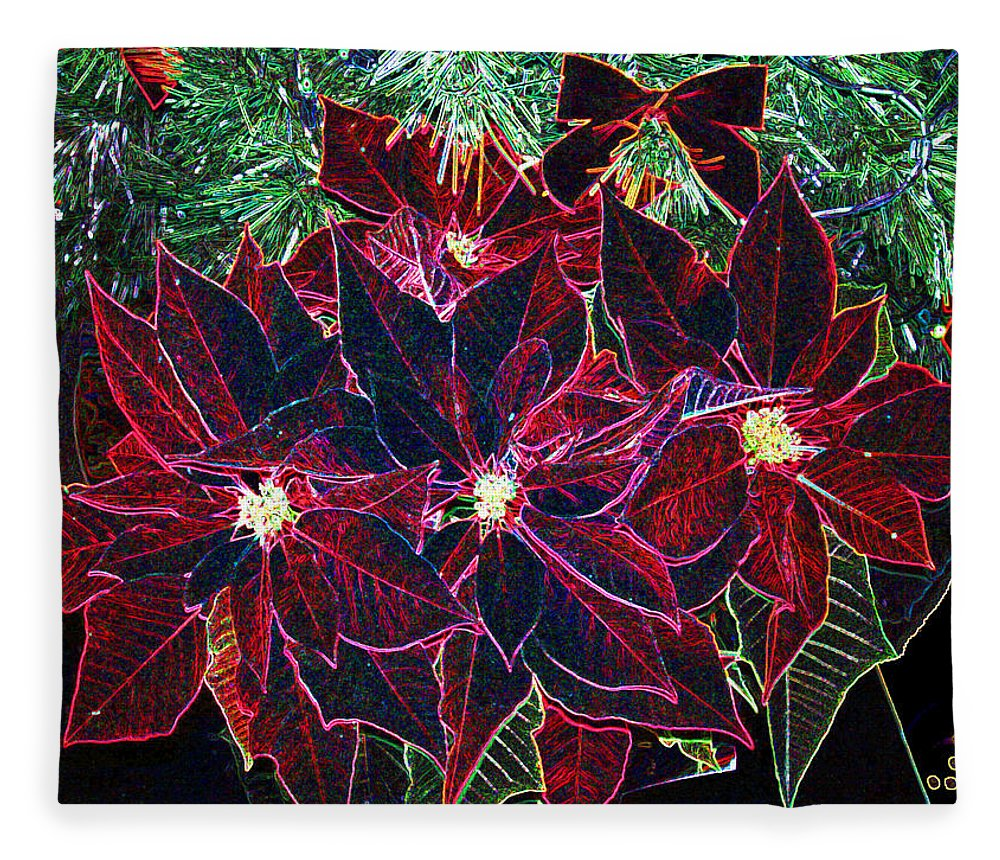 Flowers Fleece Blanket featuring the photograph Neon Poinsettias by Nancy Mueller