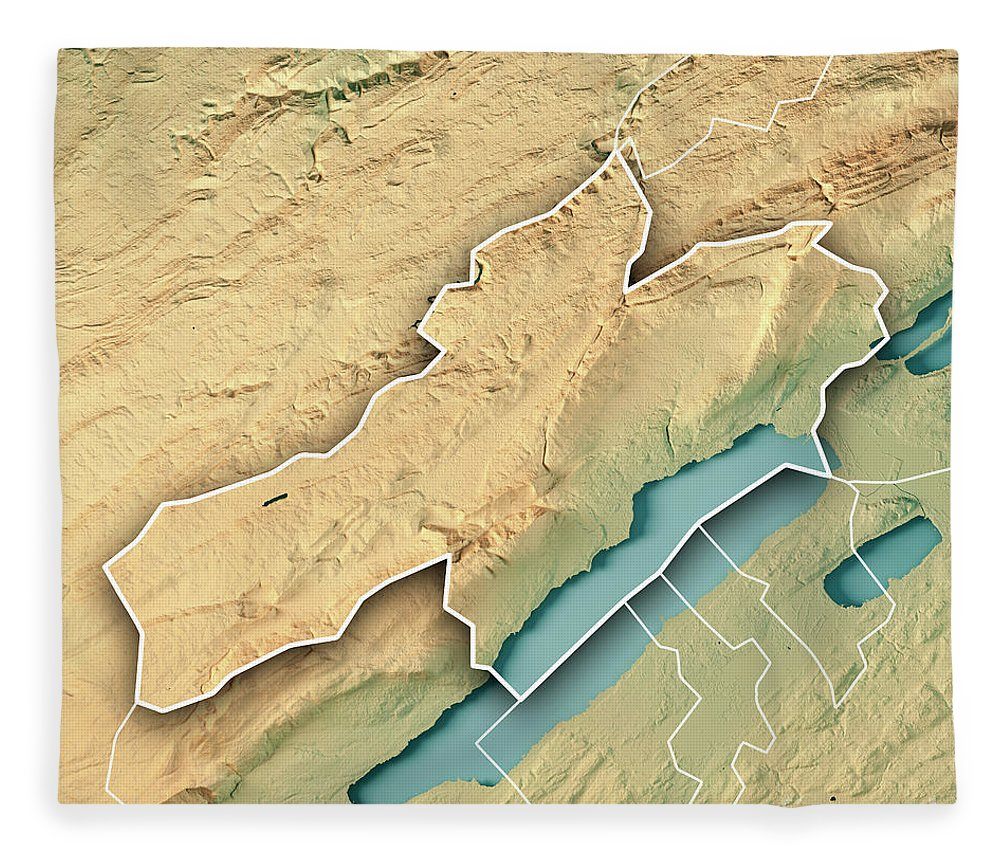 Neuchâtel Fleece Blanket featuring the digital art Neuchatel Canton Switzerland 3d Render Topographic Map Border by Frank Ramspott