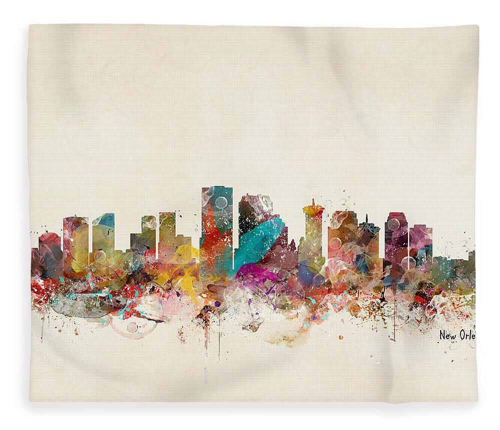 New Orleans Fleece Blanket featuring the painting New Orleans Louisiana Skyline by Bri Buckley