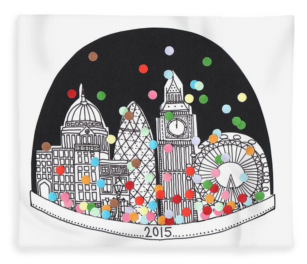 Happy New Year Fleece Blanket featuring the drawing New Year by Isobel Barber
