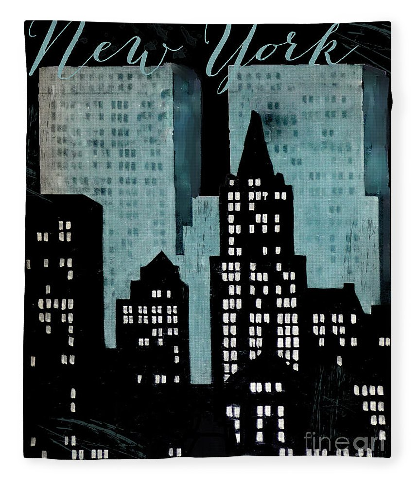 New York Fleece Blanket featuring the painting New York Art Deco by Mindy Sommers