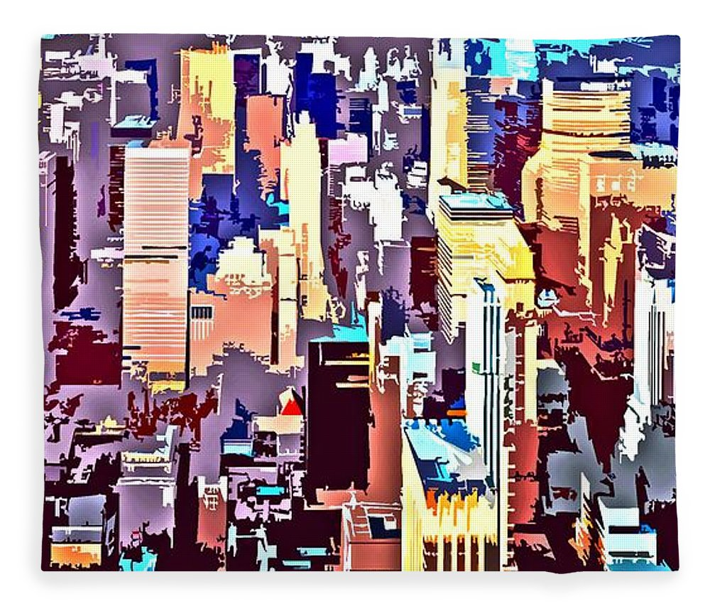 New York City Fleece Blanket featuring the digital art New York City Abstract by Linda Mears