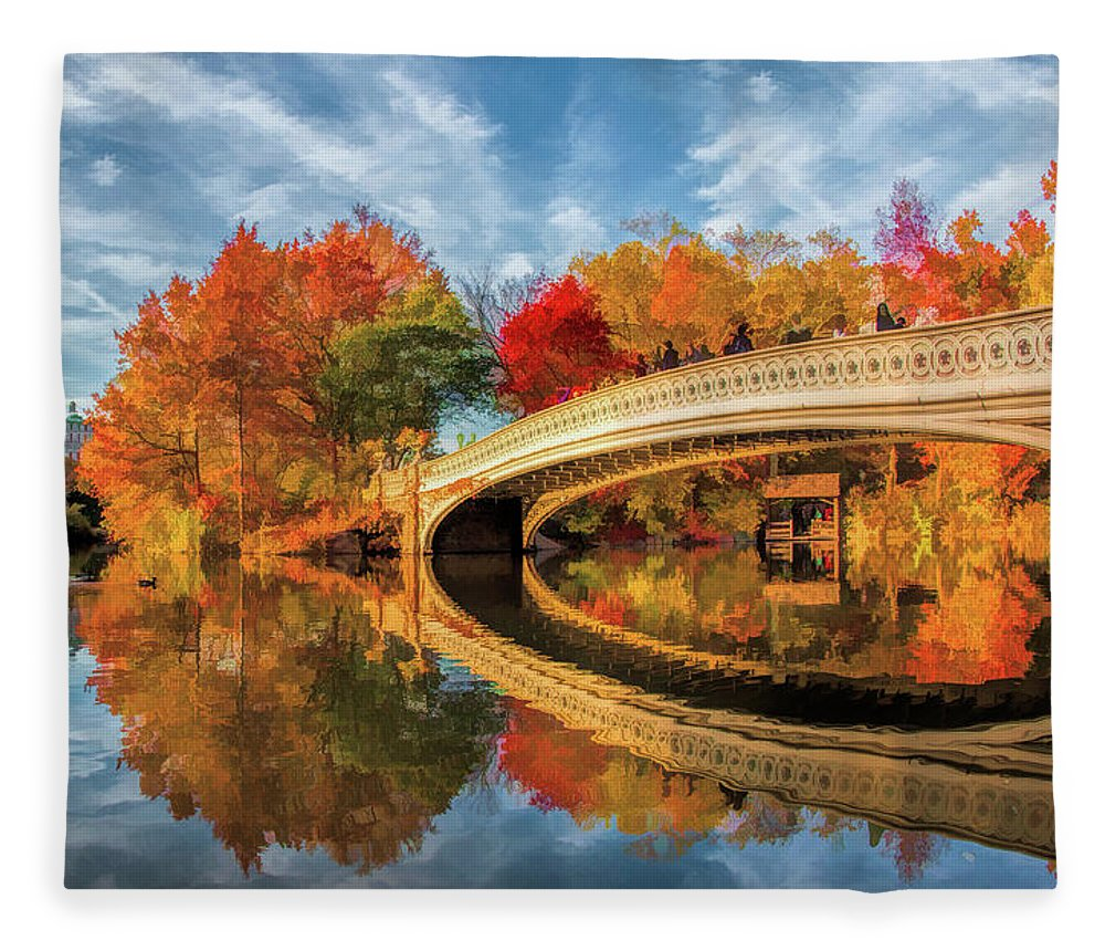 New York Fleece Blanket featuring the painting New York City Central Park Bow Bridge by Christopher Arndt