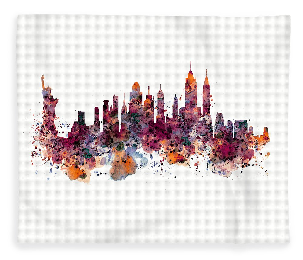 New York Fleece Blanket featuring the painting New York Skyline Watercolor by Marian Voicu