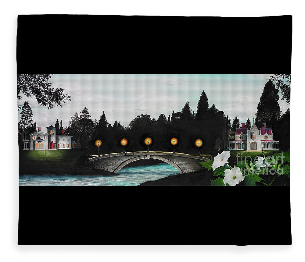 Architecture Fleece Blanket featuring the painting Night Bridge by Melissa A Benson