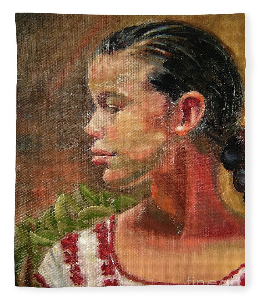 Mexico Fleece Blanket featuring the painting Nina de Trenza by Lilibeth Andre